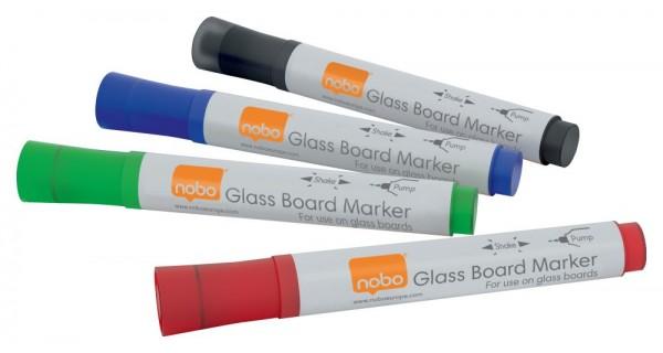 Glas-Whiteboard Marker nobo, 4er Set