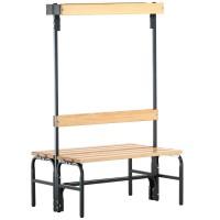 Umkleidebank SYPRO, doppelseitig - Stahl/Holz