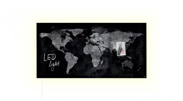 Glasmagnettafel Sigel artverum World Map LED light