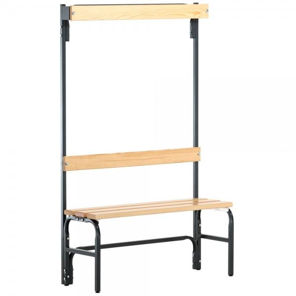 Umkleidebank SYPRO, mit Garderobenteil - Stahl/Holz